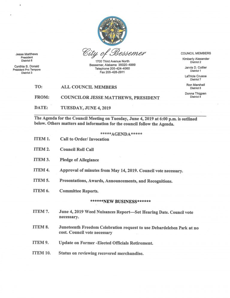 June 4, 2019 City Council Agenda, page 1